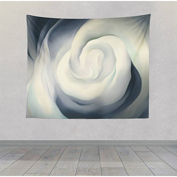 White Rose Black and White Abstract Design Tapestry Wall Hanging Meditation Yoga Grunge Hippie Wanderlust