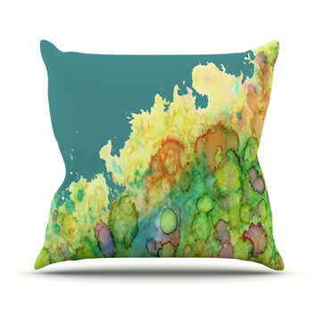 "Rosie Brown ""Sea Life II"" Teal Green Outdoor Throw Pillow"