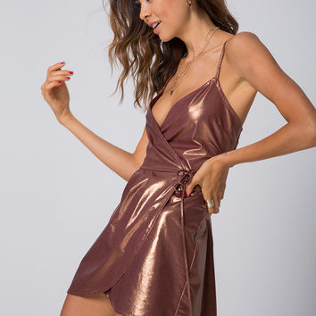 Florence Slip Dress in Shimmer Bronze by Motel