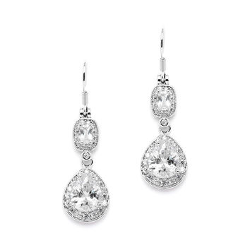 CZ Earrings with Graceful Pears and Delicate Emerald Cut Dangles