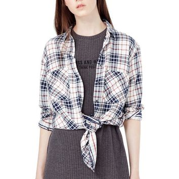 Women gingham shirting vintage plaid shirts pockets blouses long sleeve loose cozy shirts turn-down collar casual tops