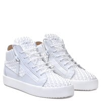 Giuseppe Zanotti Gz The Manhattan White 3d Calfskin Leather Mid-top Sneaker