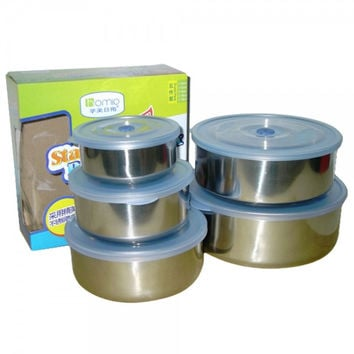 5-in-1 Stainless Steel Round Food Crisper Plastic Cover Set