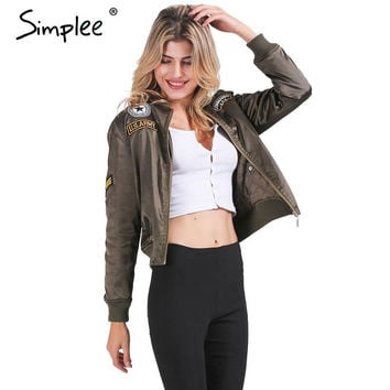 Simplee Winter cotton label pilot jacket coat Casual short top basic parka Women autumn cool padded biker bomber jacket veste