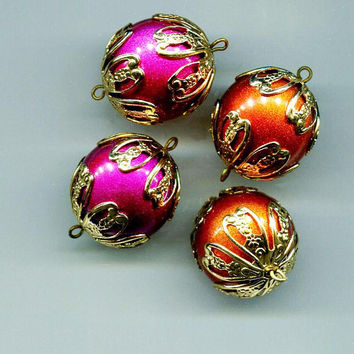 4 large bead drop charms bead pendant plastic vintage beads big ball beads 25mm round gold bead caps