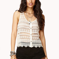 Sleeveless Double Crochet Lace Tank Top