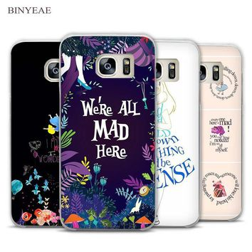 BINYEAE Alice in Wonderland Anime Transparent Phone Case Cover for Samsung Galaxy S3 S4 S5 S6 S7 Edge Plus Mini