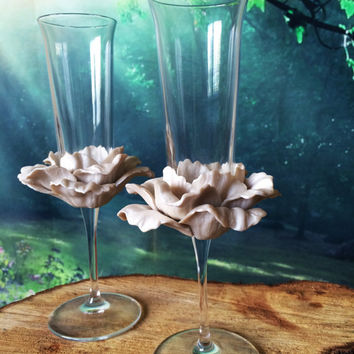 Wedding Glasses Pearly White Peony Champagne Flutes Hand Decorated Set of 2