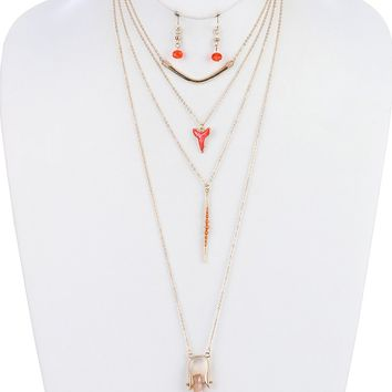 Natural Stone  Four Layer Chain Lucite Bead  Spike Shark Tooth Necklace Earring Set