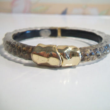 Alexis Bittar Grey Lucite Bangle Bracelet Textured Gold Tone Costume Jewelry