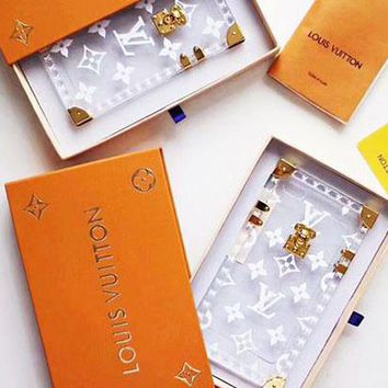 LV Transparent Color iPhone Case -Louis Vuitton Crystal iPhone Case -Up and Down Buttons iphone cap For iphone 6 6s 6plus 6s-plus 7 7plus 8 8plus X