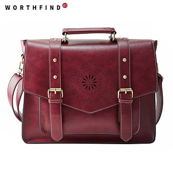 WORTHFIND New Women PU Leather Handbag High Quality Retro Women Messenger Bags Famous Designer Leather Briefcase Shoulder Bag