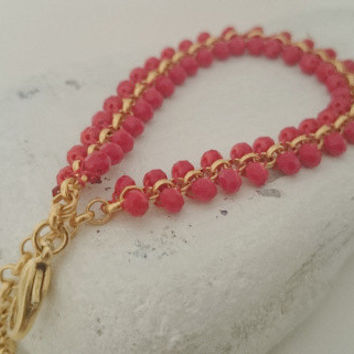 Delicate Coral Beaded Gold Chain Bracelet - Red Bracelet  - Crystal Bracelet - 22 k matte gold tiny Coin - Gold Brass Chain - Crystal Beads