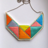 Embroidered geometric necklace bib in mint bright yellow pink blue lavender and orange embroidered triangles dramatic design