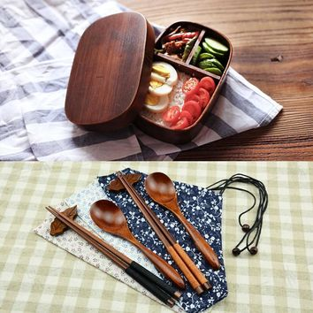 Japanese Bento Boxes Wood Lunch Box Handmade Natural Paint Wooden Bowl Sushi Box Dinnerware Food Container Spoon And Chopstic