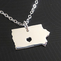 Iowa Necklace - Sterling Silver Necklace - State Necklace Iowa - State Charm - Map Necklace - I heart Iowa - I love Iowa