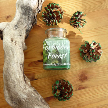 Forbidden Forest candle, harry potter candle, fandom book candle, booklover gift, harry potter gift, soy candle scented, forest scent