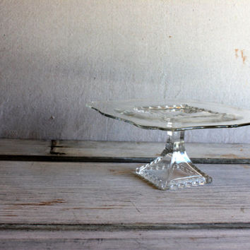 vintage viking glass cake stand PRINCESS PLAZA square footed cake plate crystal