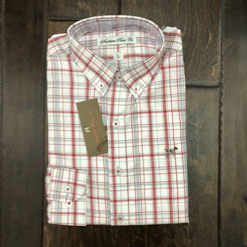 Southern Point - Youth Hadley Button Down - Crimson Plaid