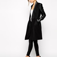 Ted Baker Coat with Leather Panel - Black