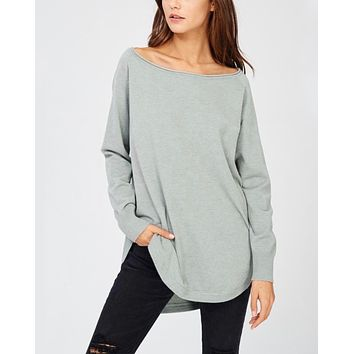 Long Sleeve Shirttail Boat Neck Sweater in Sage
