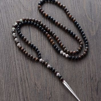 Men Necklace High End 6MM Bronzite Black Onyx with Spike Pendant Mens Rosary Necklace Mens Steampunk Jewelry Dropshipping