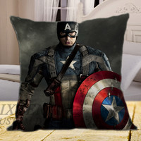 "Captain America on square pillow cover 16"" 18"" 20"""