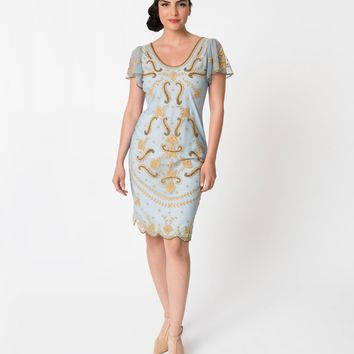 Vintage Style Light Blue & Gold Embroidered Florence Flapper Dress