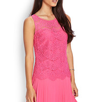 LOVE 21 Lovely Lace Pleated Dress Pink Medium