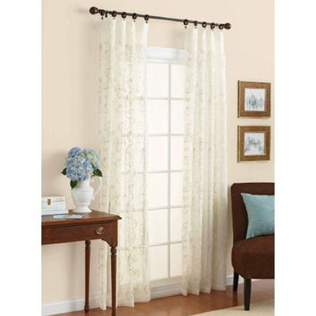 BH&G Embroidered Sheer Curtain Panel 84inch Ivory