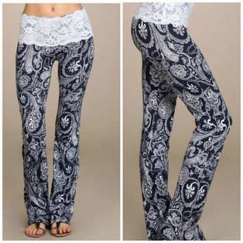 Summer Boho Hippie Women High Elastic Waist Lace Floral Printed Casual Trousers Yoga Long Pants