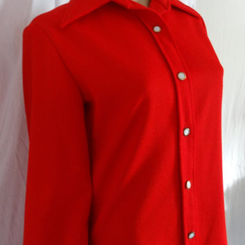 "Vtg Women's Western Shirt Size Large 38"" Bust Red Blouse"