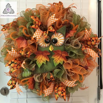 Fall/Autumn Owl Ruffle Faux Burlap Jute Deco Mesh Wreath
