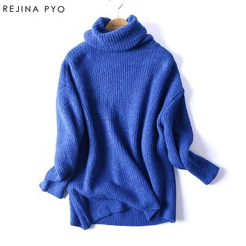 RejinaPyo Women Oversize Basic Knitted Turtleneck Sweater Female Solid Turtleneck Collar Pullovers Warm 2018 New Arrival