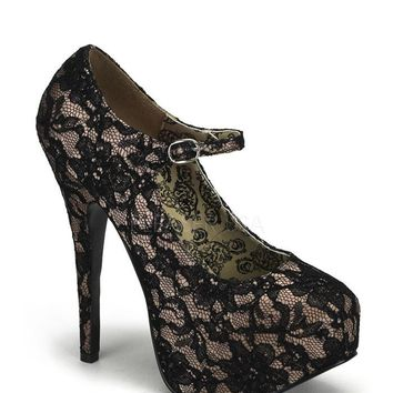 Bordello Teeze Nude Satin Lace Mary Jane Platforms
