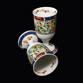 Imari Style Porcelain China Wine Goblets Set of 2