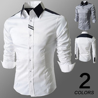 Men's Contrast Collar Long Sleeve Button Down Shirt