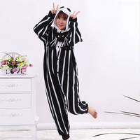 Adults Cartoon Unisex Men Women Skeleton Jack Onesuits Pajamas Sleepsuit Cosplay Costumes For Halloween Party