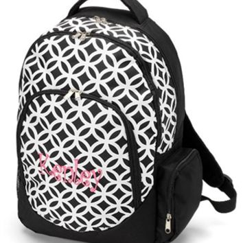 Monogrammed Black Sadie Backpack
