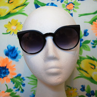 Cateye Black Sunglasses Round Cat Eye Frames - Winnie