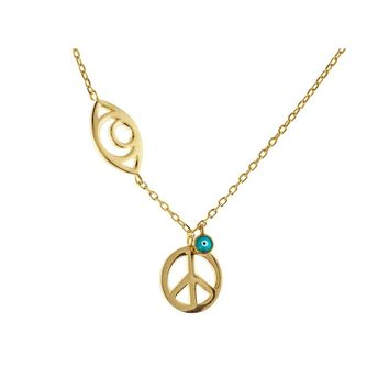 """Spiritual Golden Evil Eye & Peace Sterling Silver Chain Necklace, 15"""" + 2"""""""