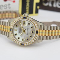 Rolex President Gold Tridor Mother of Pearl Sapphire Bezel 79179 WATCH CHEST