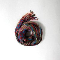 Vintage tribal neck scarf. Fringed woven scarf. ECHO scarf.