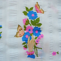 1960s Floral Fabric 43 w x 66 Blue Novelty Print Hand Holding Bouquet of Flowers with Butterflies Seersucker Fabric