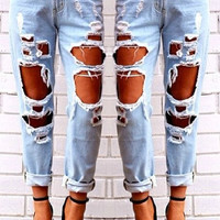 Mid-Waisted Big Hole Design Jeans