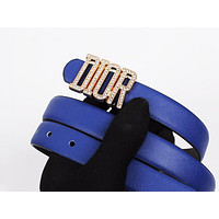 Dior Tide brand women's diamond alphabet retro simple smooth buckle belt Blue