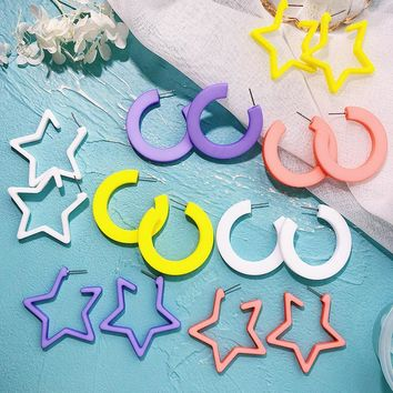 Hand Paint five-pointed Star Earrings Colorful Acrylic Acetate Acetic Acid Big Long Dangle Drop Earrings for Women Jewelry