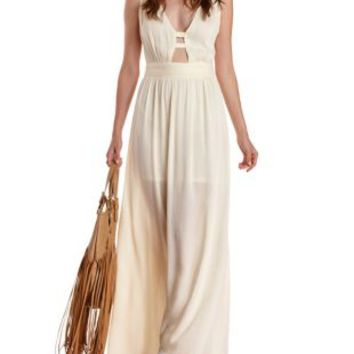Ivory Caged Crochet-Back Maxi Dress by Ark & Co at Charlotte Russe