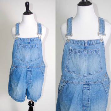 Vintage 1990s light denim GAP carpenter Overall shorts romper dungarees jumper grunge medium