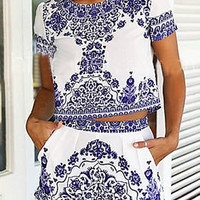 Blue Tile Print Short Sleeve Crop Top And Shorts